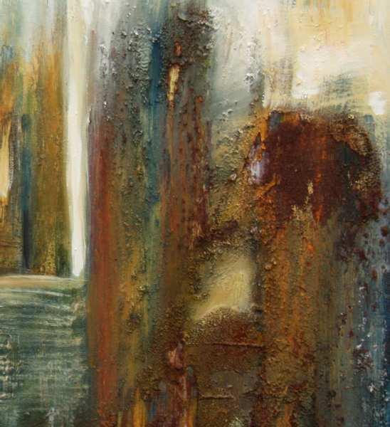 Udsnit af maleri, hvor man ser de rustikke jordfarver, jeg har samlet sammen i de andalusiske bjerge