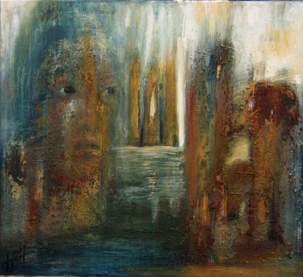 maleri i jordfarver. Fantasilandskab med vand, klipper, bygninger og et ansigt