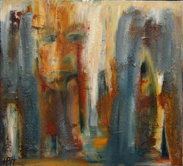 abstrakt maleri i jordfarver. Klipper, grotter og et ansigt