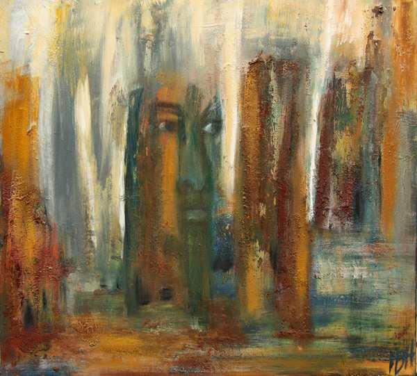 fantasimaleri i jordfarver med et ansigt inde i klipperne. Malet med rustikke jordfarver fra Andalusien