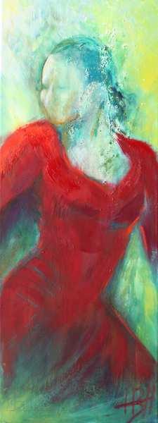 flamenco maleri af kvinde i rød kjole smalt højformat