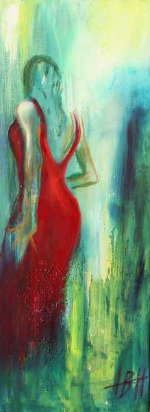 flamenco maleri af danser i rød kjole på grøn baggrund