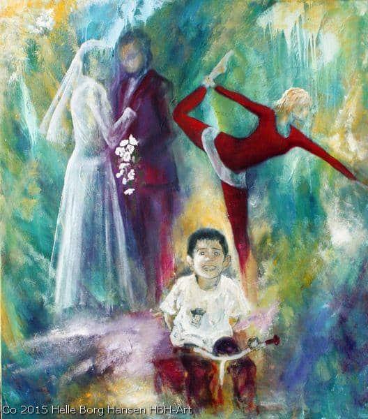 Maleri på bestilling sølvbryllupsbillede med brudeparret og deres børn