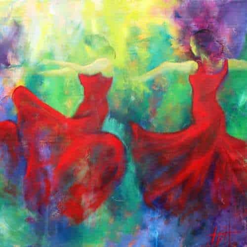 kunstkort 15 X 15 cm med print af flamenco dansemaleri af dansere i røde kjoler. Malet i olie på lærred