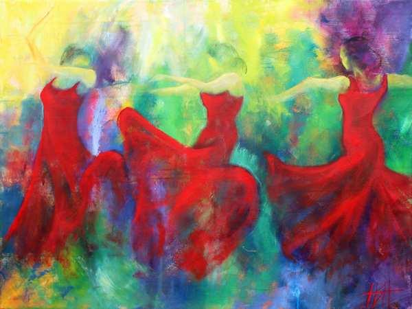 maleri af dansende kvinder i røde kjoler på farverig baggrund