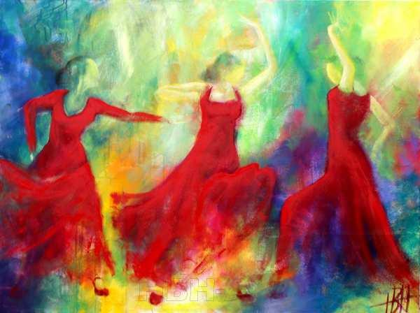 Maleri af flamencodansere på farverig baggrund