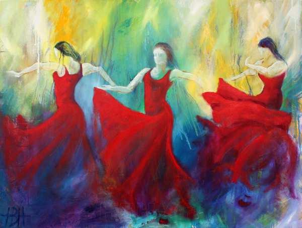 farverigt maleri af tre flamencodansere