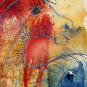 Farverig akvarel af hest der er ude på spilopper