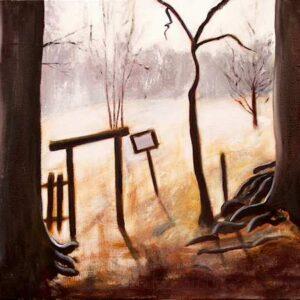 Maleri af det skarpe tidlige forårslys som stærk kontrast til de mørke stammer. Motivet er fra Ganløse Ore
