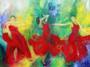 Flamenco dansemaleri af tre kvinder i røde kjoler. De er fyldt med temperament og bevægelse