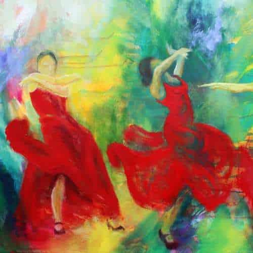 kunstkort 15 X 15 cm med print af flamenco dansemaleri Forløsning af dansere i røde kjoler. Malet i olie på lærredForløsning kunstkort