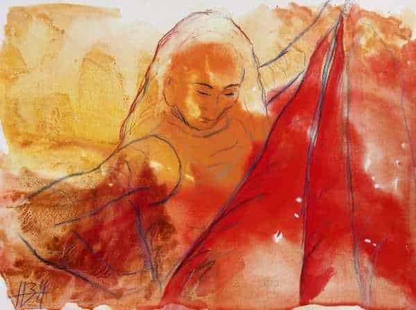 akvarel i gule og røde farver af flamencodanser med rød nederdel