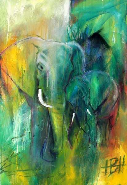 Moderkærlighed - maleri af elefant og unge i grønne blå og gule farver