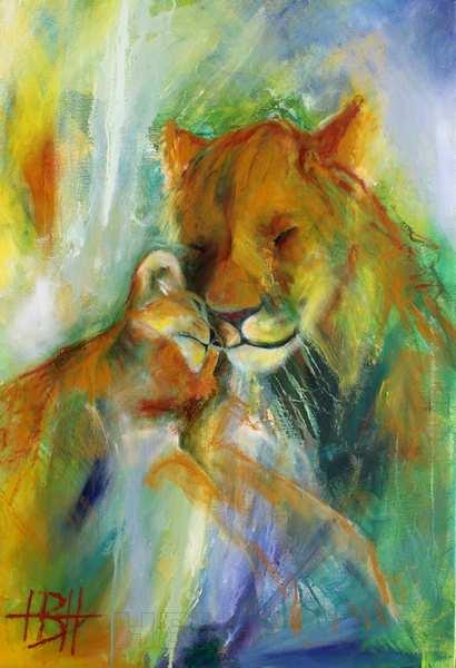 maleri af løve og unge - moderkærlighed