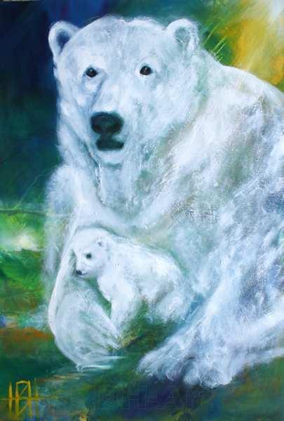 Maleri af isbjørn med unde mellem forpoterne