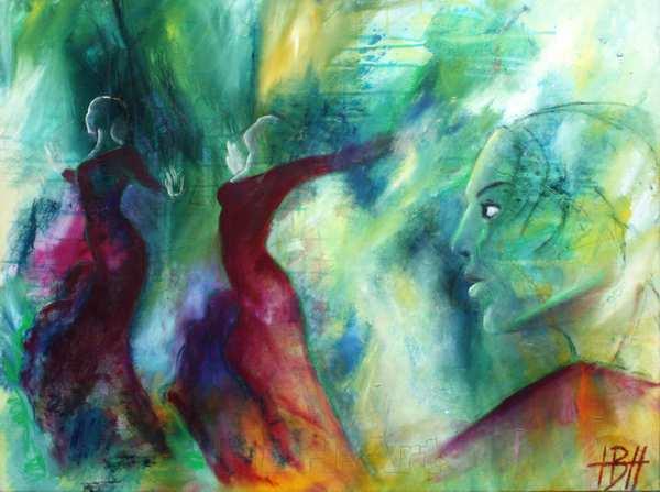 abstrakt maleri af to dansende kvinder og et kvindeansigt