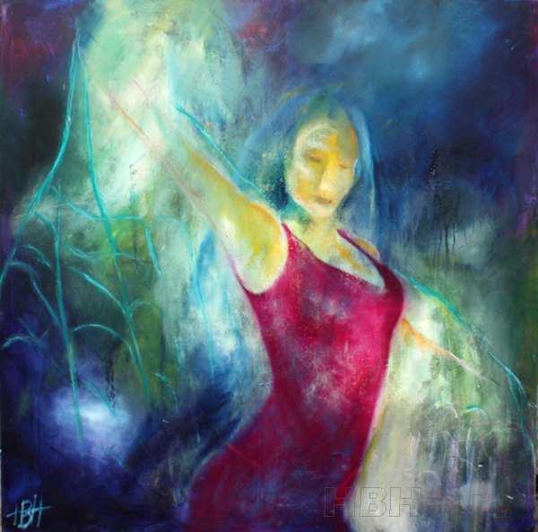 maleri af flamencodanser i blå farver. Hun svinger et sjal af lys omkring sig og den violette kjole