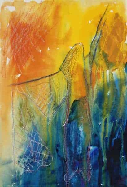 Akvarelmaleri i blå og gule farver af flamencodanser med sjal