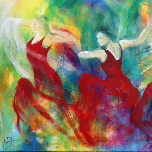 kunstkort 15 X 15 cm med print af flamenco dansemaleri Fuego af dansere i røde kjoler. Malet i olie på lærred