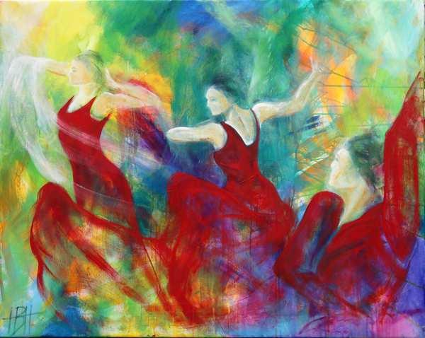 olie maleri af temperamentsfulde dansere