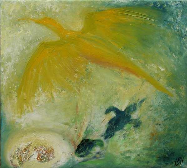 Maleri fugl Fønix fra ægget, fugleungen til den flyvefærdige fugl. Malet i lyse farver