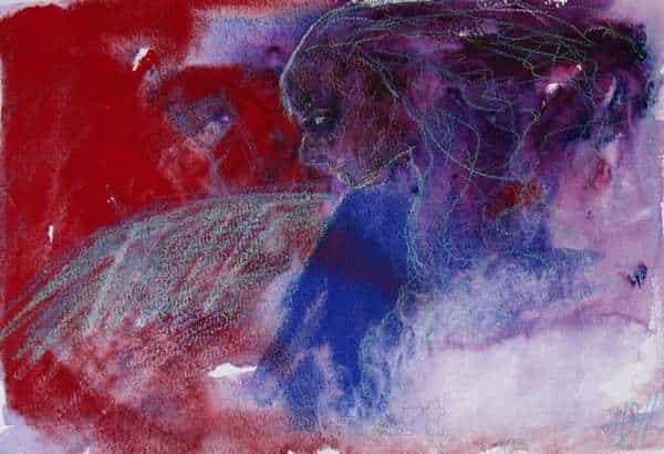 akvarel i blå og røde farver af fuglekvinde med vinger
