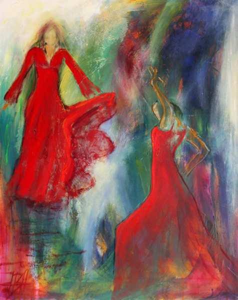 Maleri af røde flamencodansere