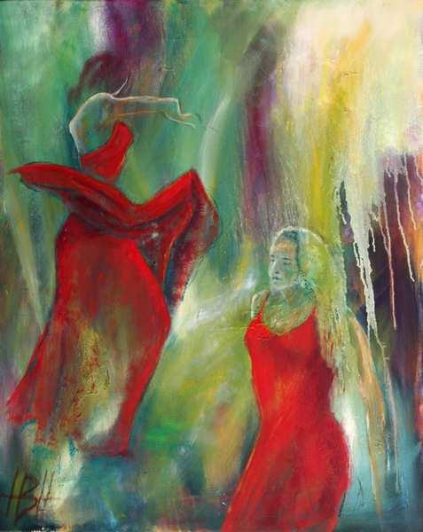maleri af to dansende kvinde i røde kjoler