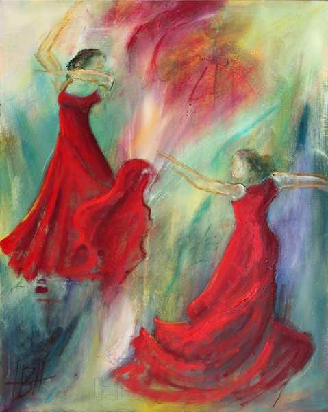 Flamenco dansemaleri med to dansere i røde kjoer