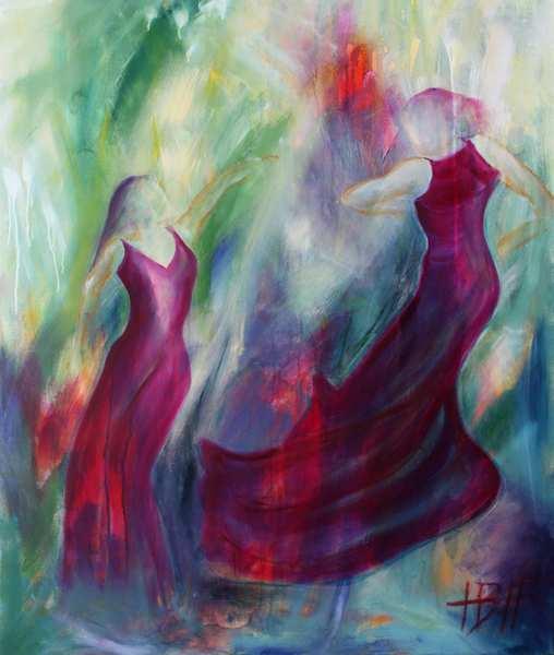 dansemaleri af to flamencodansere i violette kjoler
