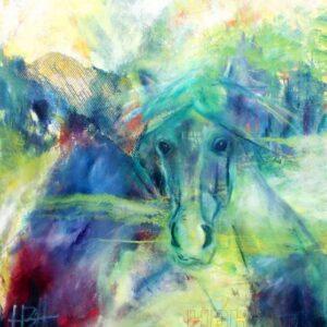 hestemaleri i halvabstrakt stil. Hesten er i forgrunden af et fantasilandskab