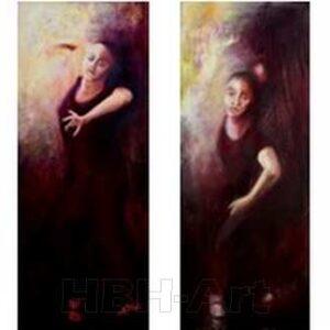 Maleri i en serie på fire oliemalerier. De danner tilsammen en bevægelse i dansen fra højre til venstre. En bevægelse opad. Claire obscure maleri med stor kontrast mellem lys og mørke