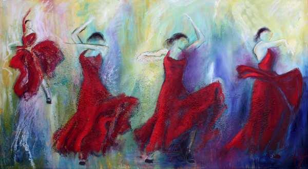 maleri af fire flamencodansere i røde kjoler