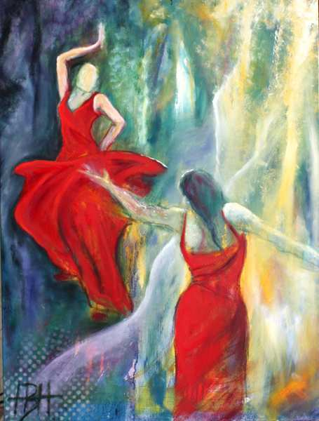 maleri af kvinder på en lys og blå baggrund