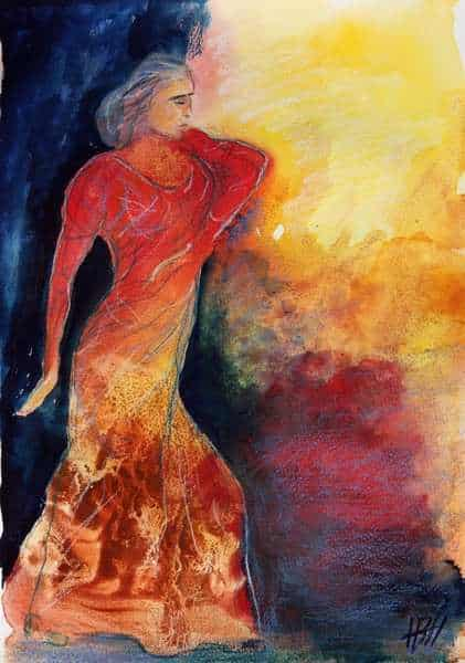 Akvarel flamencodanser i varme farver på blå baggrund