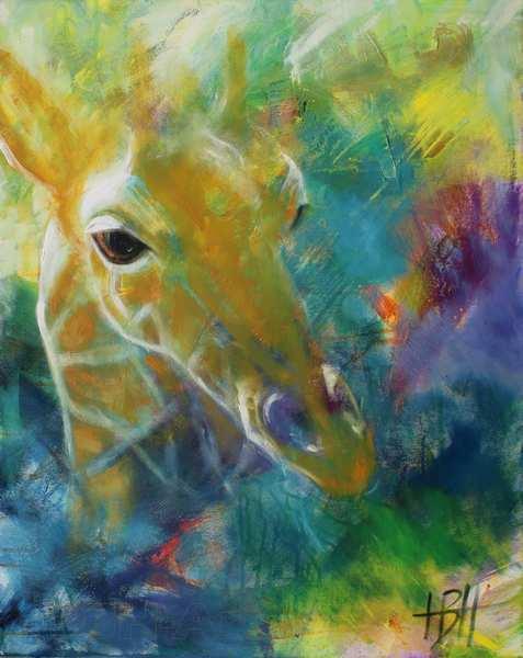 maleri af giraf på farverig baggrund