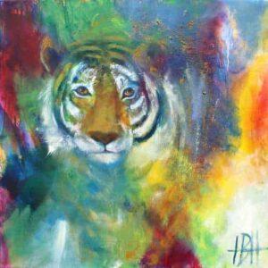 Farverigt maleri af tigerhoved malet i olie på lærred