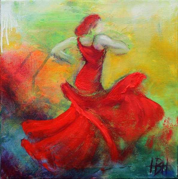 maleri af danser i rød kjole. Hun danser glædens dans alegria