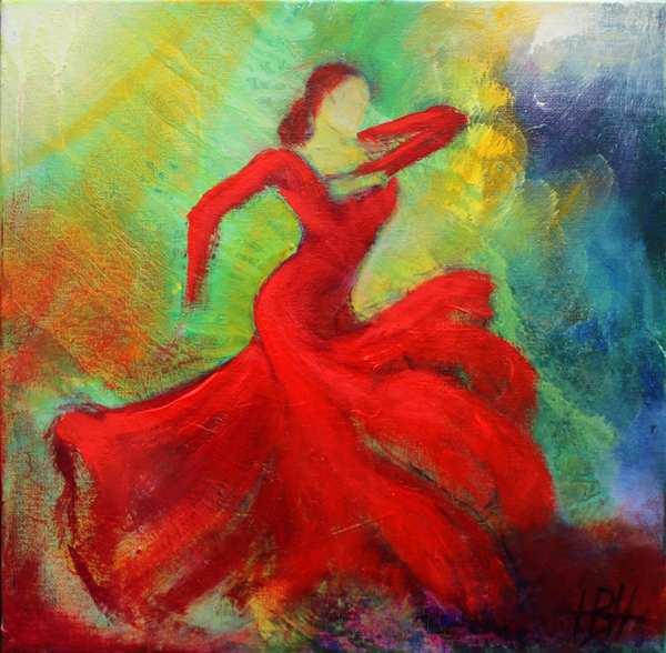 flamencodans maleri af kvinde i rød-orange kjole