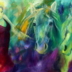 Maleri af danser i rød kjole og to heste.