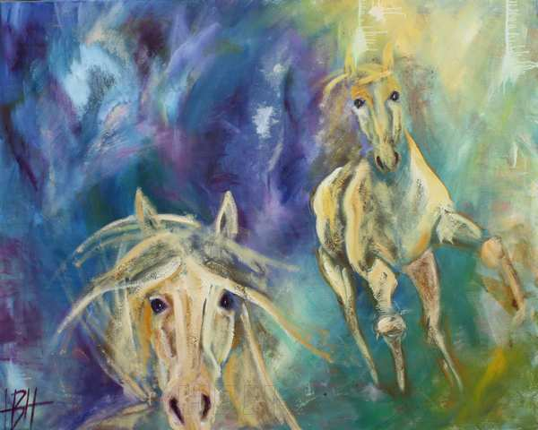 Maleri af to gyldne heste på blå baggrundheste