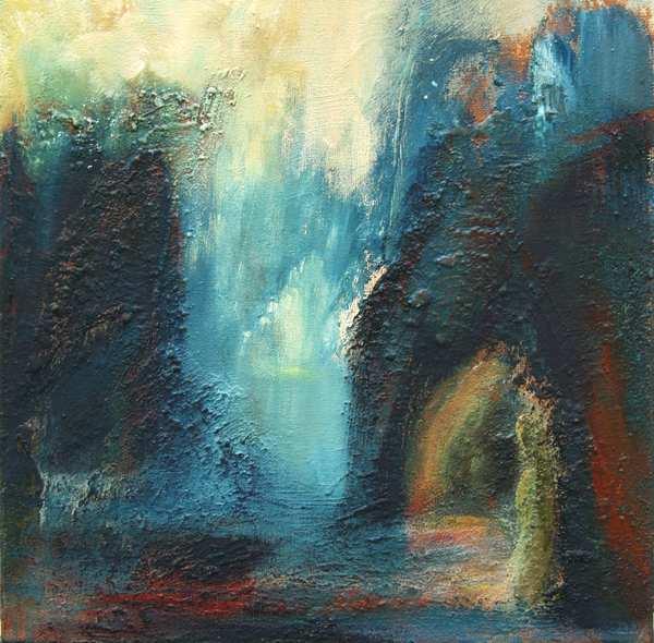 Maleri af fantasilandskab med bjerge og grotter. Malet i blå og gule farver med underlag af bl.a. jordfarver fra Andalusien