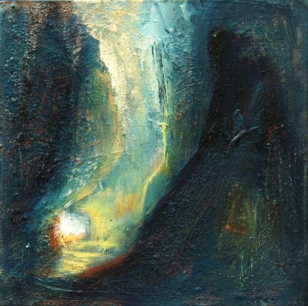 Maleri af grotter og huler, lys og mørke. Malet i mange lag hvor nogle af dem er jordfarver hentet i de Andalusiske bjerge