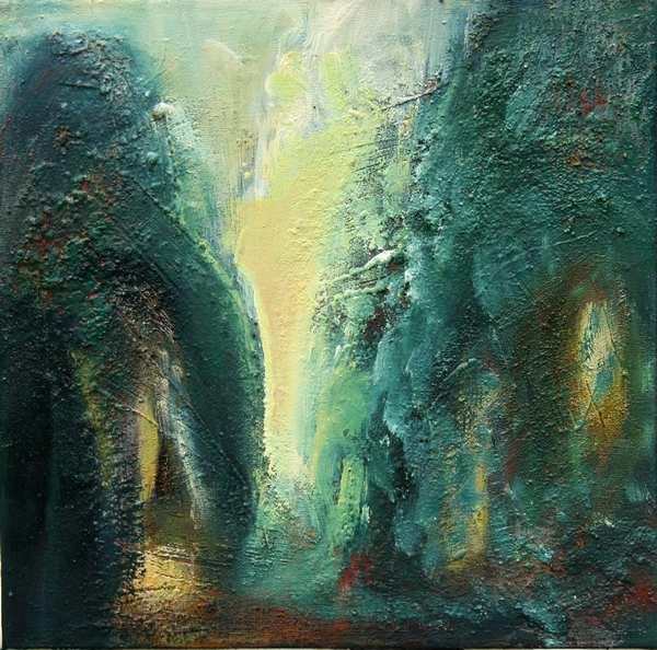 maleri af fantasi-bjerge malet i mange lag. Mange kontraster mellem det lyse gule og mørke blå