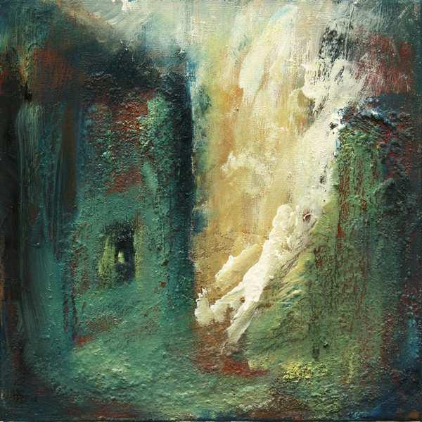 Abstrakt maleri af fantasilandskab. Det er i blålige farver med undermaling af mange lag i andre farver, som titter ud gennem det blågrønne