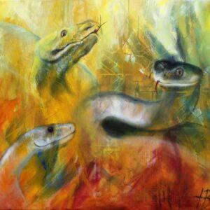 Maleri af slanger i varme farver