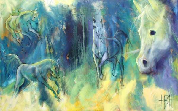 hestemaleri i blå farver med flere heste
