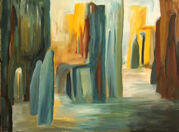 Stort maleri med fantasilandskab og bygninger. To formummede mennesker søger hen mod lyset og en anden person i kappe
