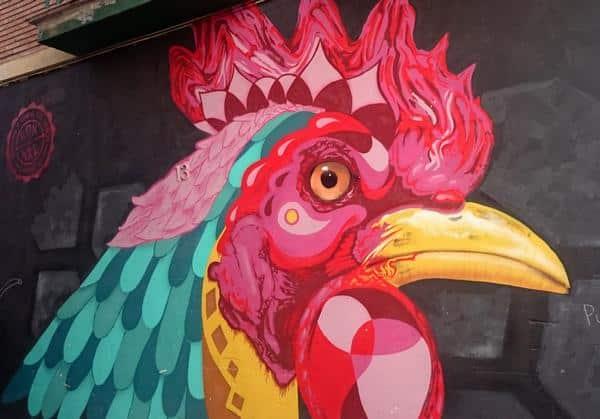 Maleri på en mur i Malaga - en høne