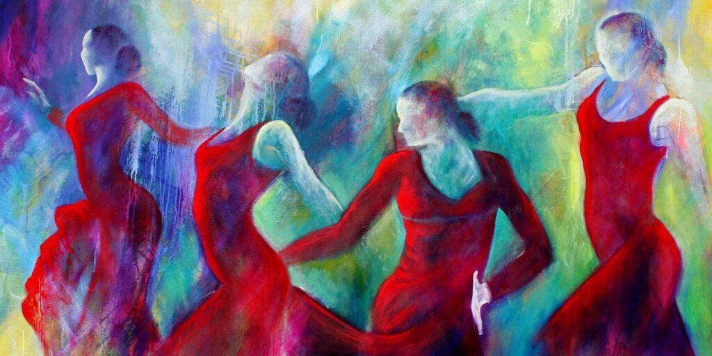 Køb kunst som originale malerier. Her et malerier med flamencodansere i røde kjoler